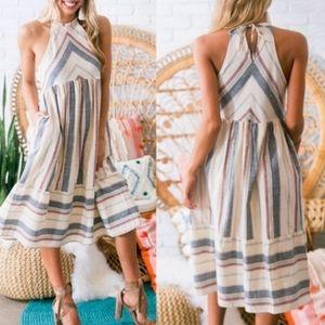 Dresses & Skirts - JONIE Striped Pocketed Midi Dress